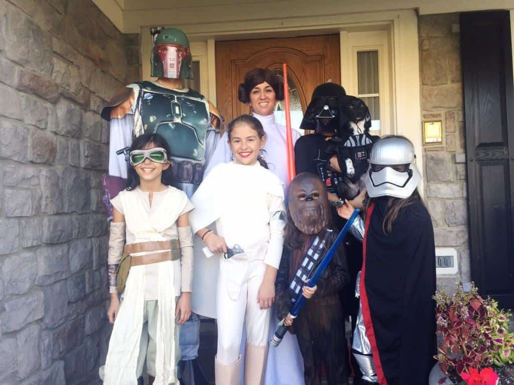 Tania Lamb's (a Northern Virginia mom blogger) family in Star Wars costumes! We love Halloween and having fun!