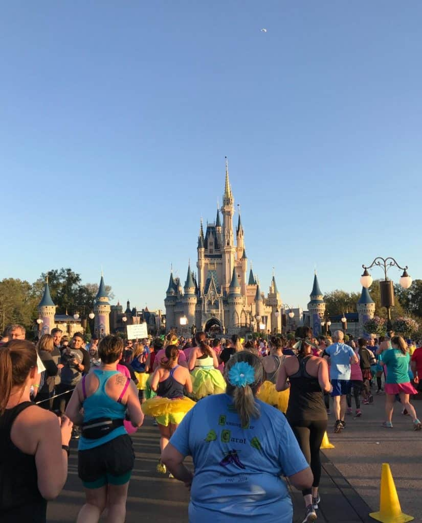 Crowds at Cinderella Castle during Princess Half Marathon Weekend