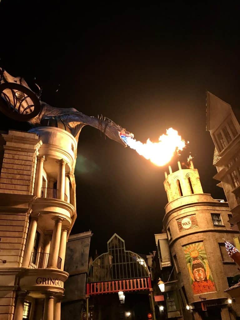 One of the must-dos at Diagon Alley is watching Gringotts Dragon breathe fire.
