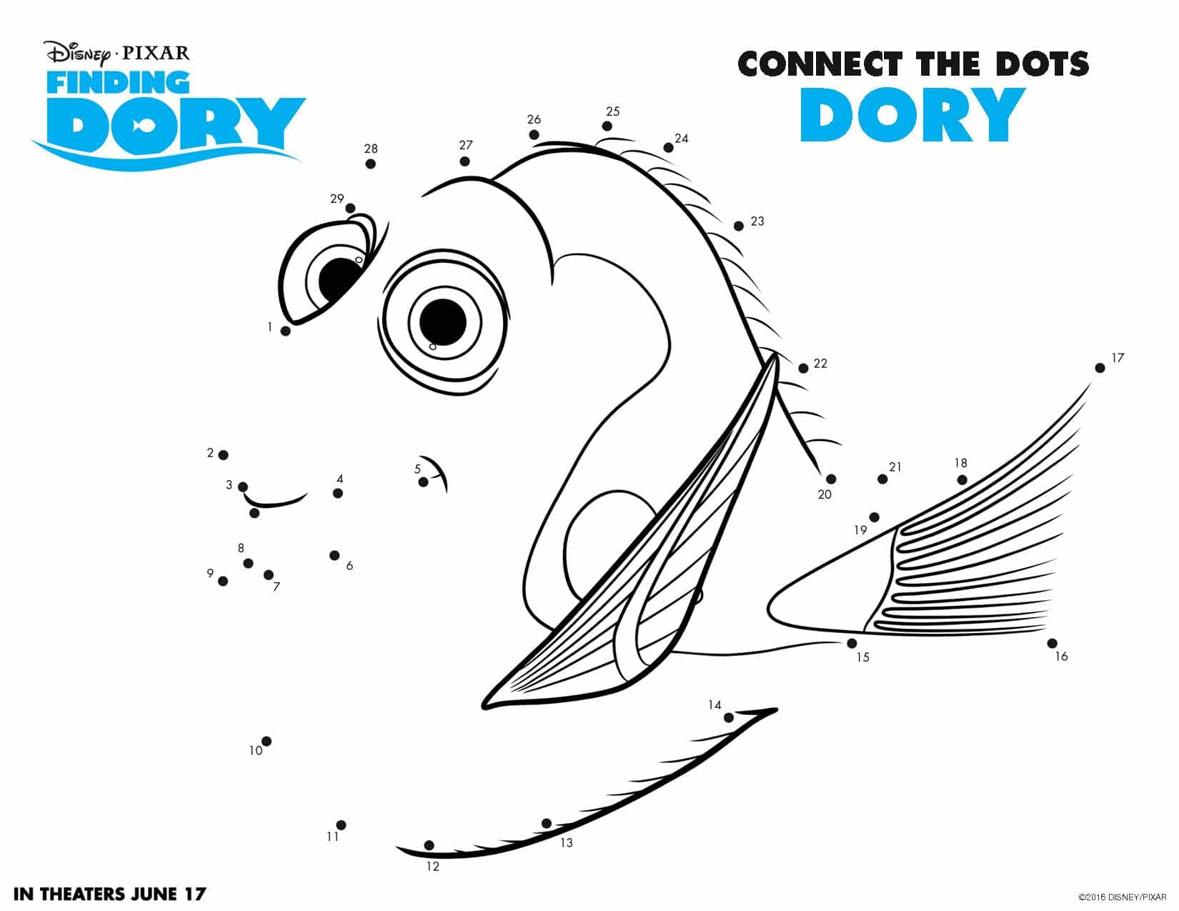 Finding Dory Connect the Dots Page