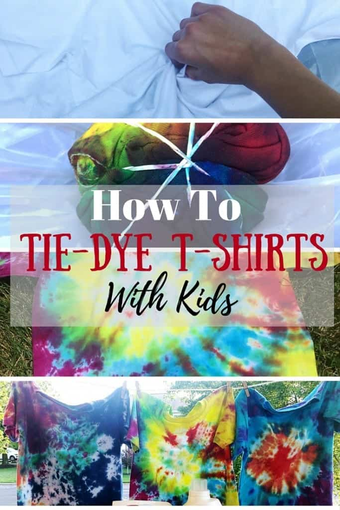 A DIY tutorial on how to tie-dye shirts with your kids! A simple craft to make the summer fly by. We show you three different patterns that are easy for kids to do themselves and help them gain confidence.
