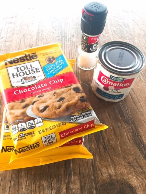 Ingredients for Salted dulce de leche chocolate chip cookie bars