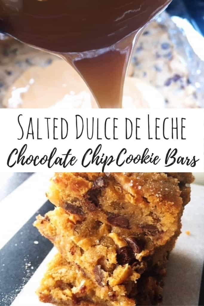 My kids love when I bake them an after school snack. Here is an easy 3-ingredient recipe for salted dulce de leche chocolate chip cookie bars. Delicious and simple!
