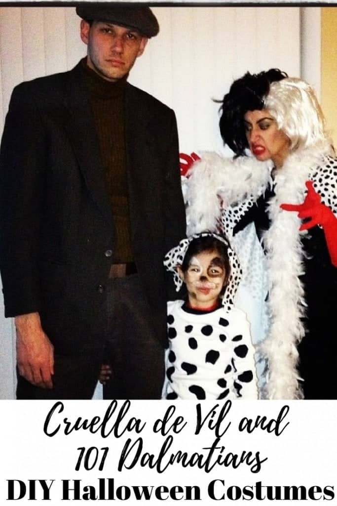 DIY Cruella de Vil and 101 Dalmatians Halloween Costumes. Perfect for a couples costume with Cruella and Jasper or a kids costume by adding all your 101 dalmatians!