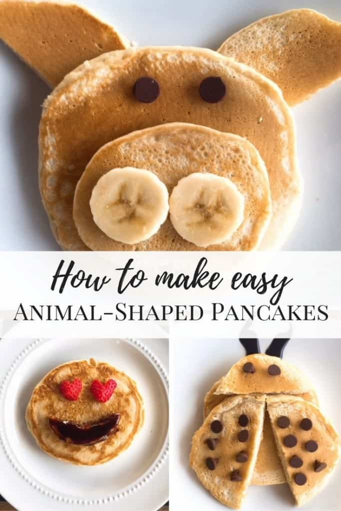 How to make easy, animal-shaped pancakes. Here is our family's favorite recipe for Vanilla Pancakes. Perfect for breakfast or dinner! With an extra 2 minutes, you can make pig, ladybug, and emoji pancakes for family fun.