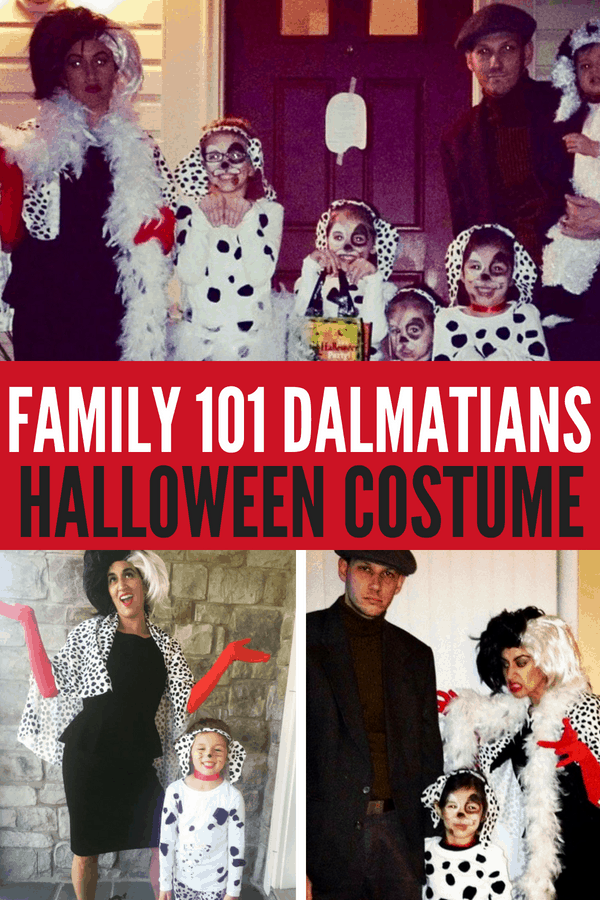 DIY Family 101 Dalmatians Halloween Costume! Here are simple and cheap costumes including Cruella Deville, Jasper, and Dalmatians from Disney's 101 Dalmatians.