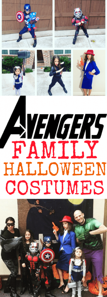 Family Halloween costumes do not have to be complicated! Here are some DIY and store bought Avengers Halloween Costume ideas! My family included Hulk, Captain America, Black Widow, Agent Carter, Thor, Ant-Man, and Falcon from Marvel's Avengers!