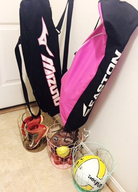 Keep all sports equipment in a designated room to keep it organized.