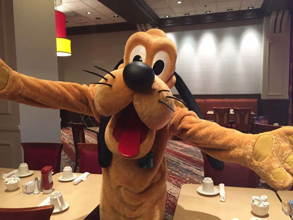 Pluto at Disney Character Breakfast at Wyndham Lake Buena Vista