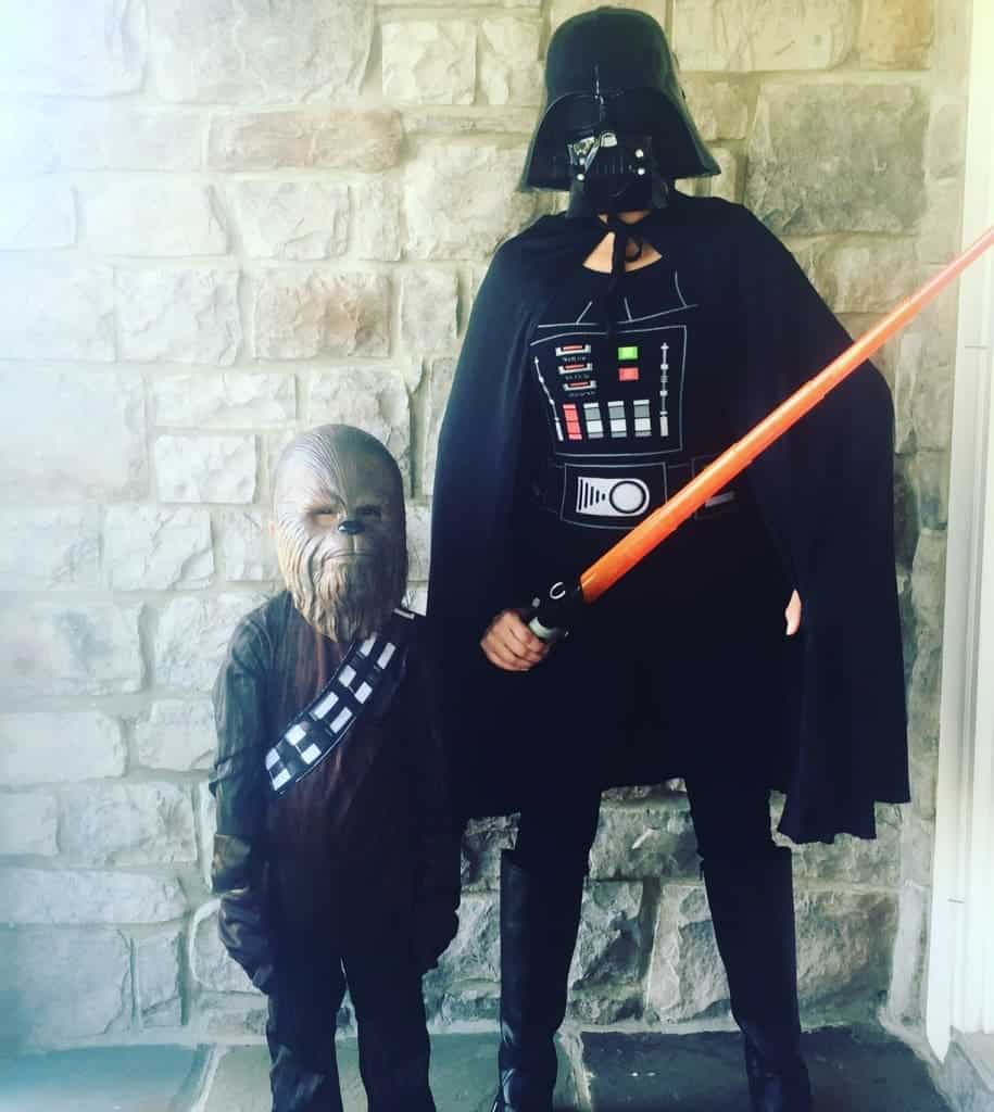 Darth Vader and Chewbacca Bus Stop Costumes