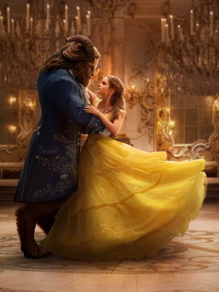 Belle and the Beast dance an iconic waltz in the ballroom of Beauty and the Beast.