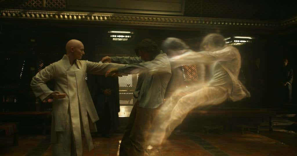 Marvel's DOCTOR STRANGE The Ancient One (Tilda Swinton) and Doctor Stephen Strange (Benedict Cumberbatch)
