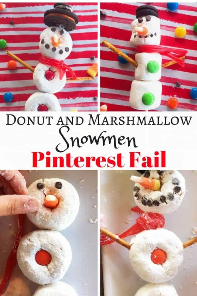 Looking for fun Christmas and holiday crafts and activities for kids to make?  Well we tried making some DIY Donut Snowmen and Marshmallow Snowmen. Big Pinterest fail for my family. Sometimes you just have to roll with it.