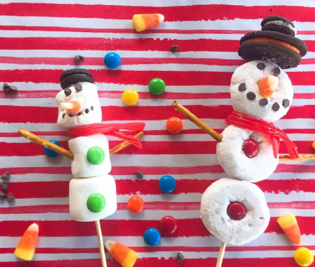 DIY Edible Donut and Marshmallow Snowmen for Kids