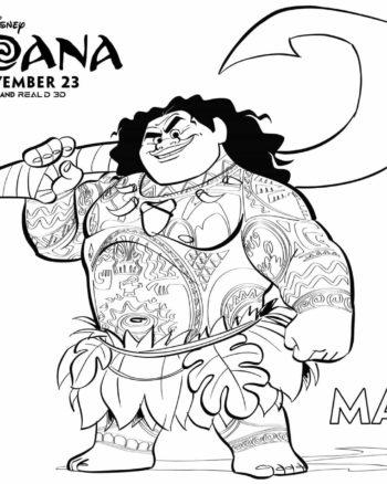 Página de colorear de Maui, Coloring Sheet for Moana's Maui