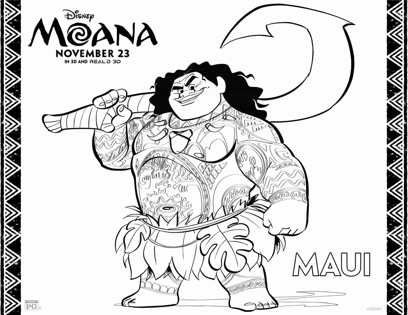 Página de colorear de Maui, Coloring Sheet for Moana's Maui