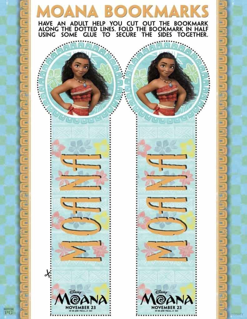 Marcadores de MOANA, Bookmarks from Disney's MOANA