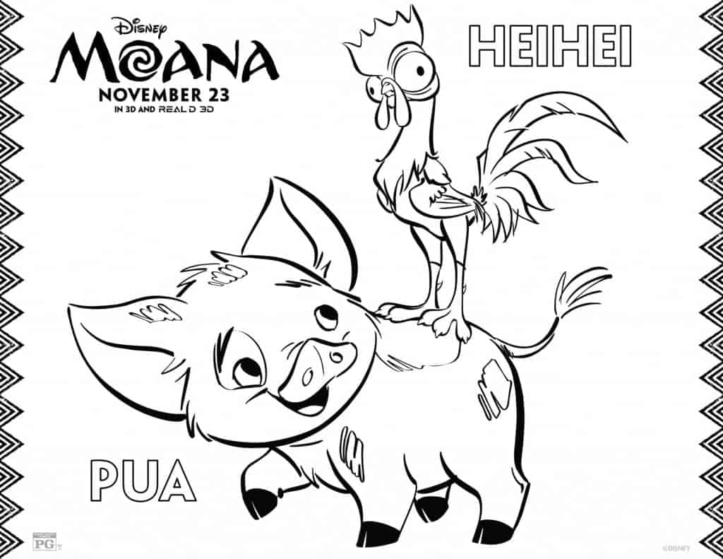 Página de colorear de Heihei y Pua de MOANA, HeiHei and Pua coloring page from Moana