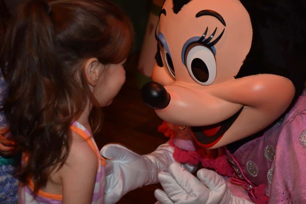Character Meet and Greet with Minnie Mouse at Magic Kingdom park. The best parks for toddlers.