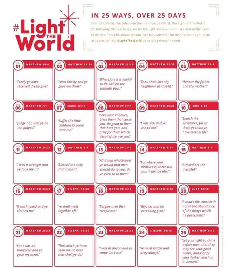 Let's light the world with service and kindness for 25 days in December!