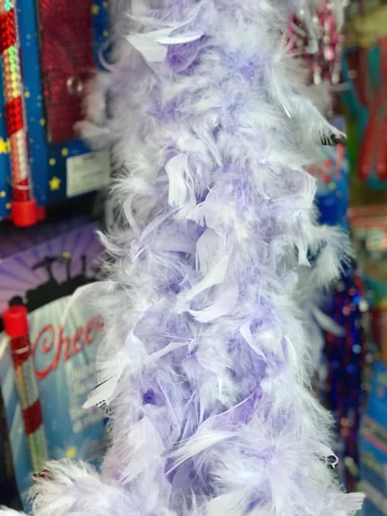 Feather boa anyone? Find great things at the Dollar Store for Christmas gift ideas.