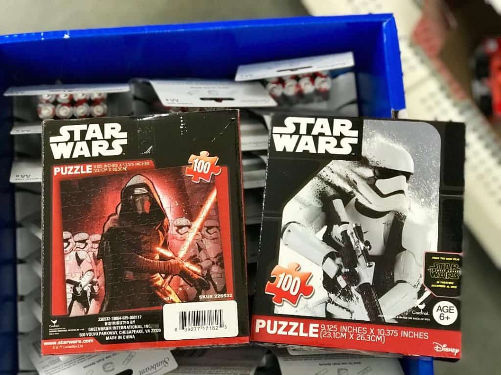 You can even find puzzles from Star Wars: The Last Jedi for Dollar Store Christmas gifts.