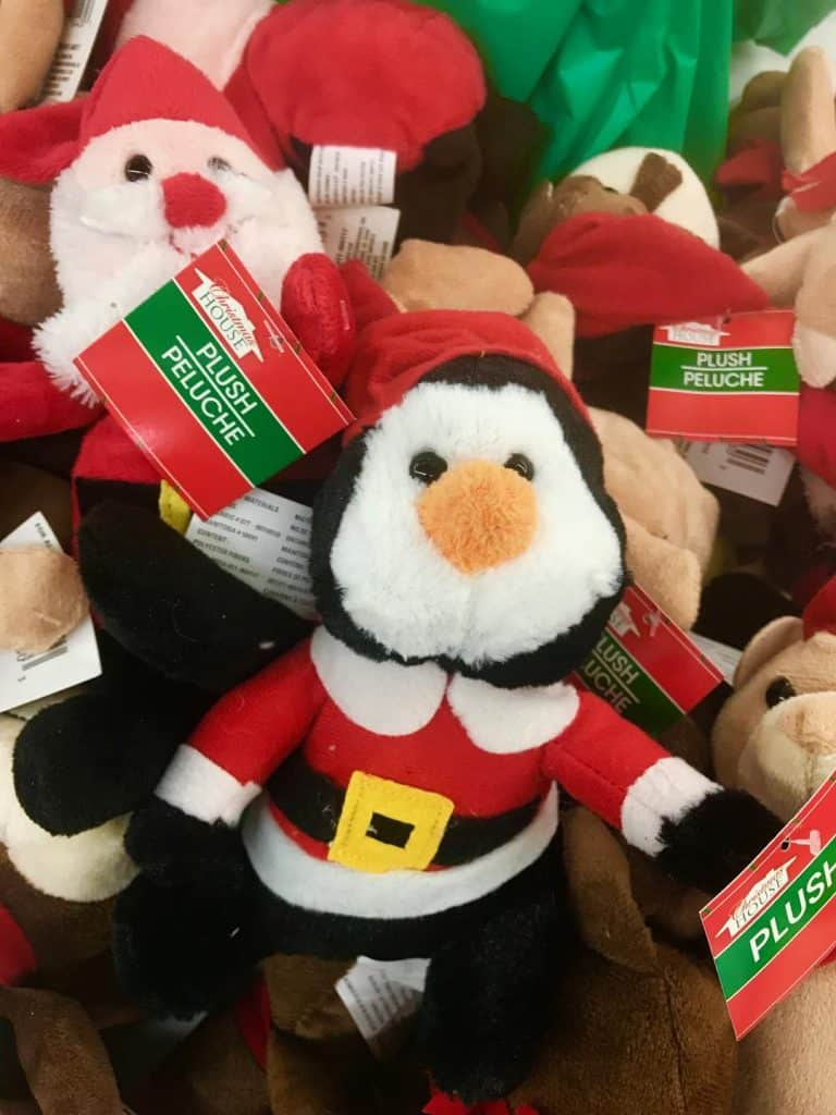 Stuffed animals make great Dollar Store Christmas gifts!