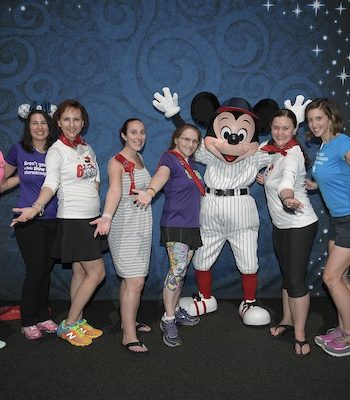 Mickey Mouse in baseball uniform for Cigna Blogger Meetup