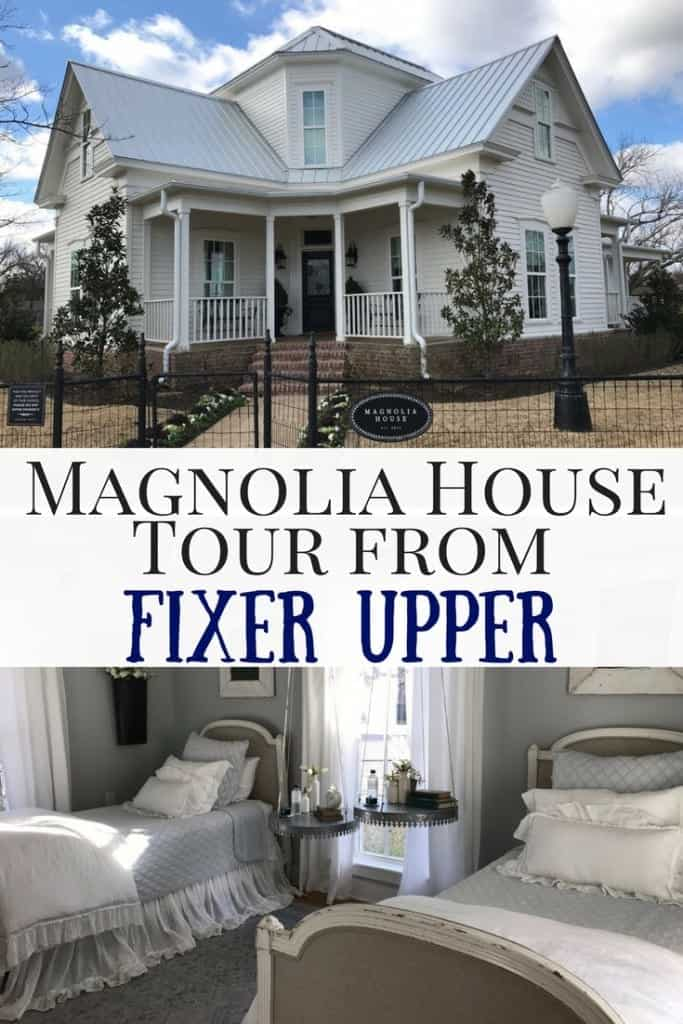 Take a photo and video tour of Joanna Gaines's Magnolia House from HGTV's Fixer Upper! I stayed in the home it's shiplap heaven! Check out bedrooms, kitchen, furniture and get ideas on how to farmhouse decorate.