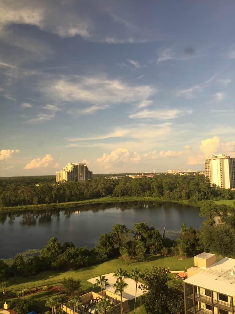 Catch the view from the beautiful Wyndham Lake Buena Vista across the street from Disney Springs.