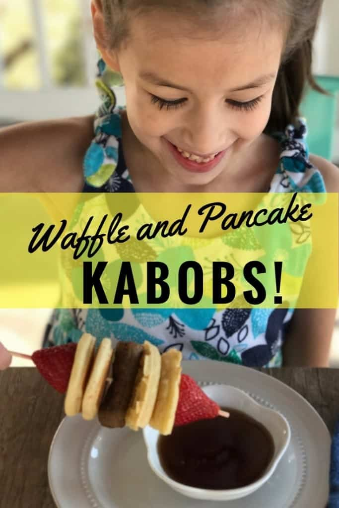 I'm always looking for breakfast hacks and fun and simple dinner ideas and recipes for my family. These easy waffle and pancake kabobs are done in 5 minutes, and my kids love them! Food on a stick is genius!
