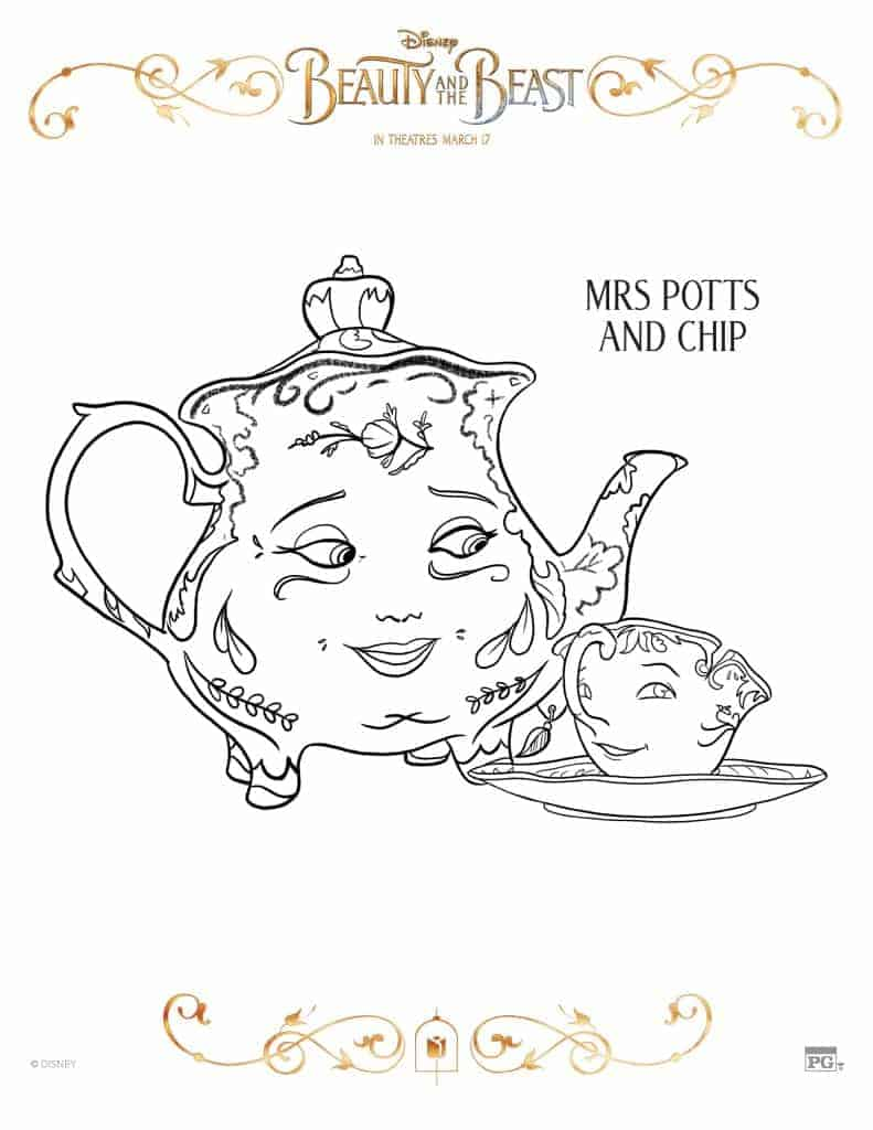 Mrs potts and chip beauty and the beast coloring pages