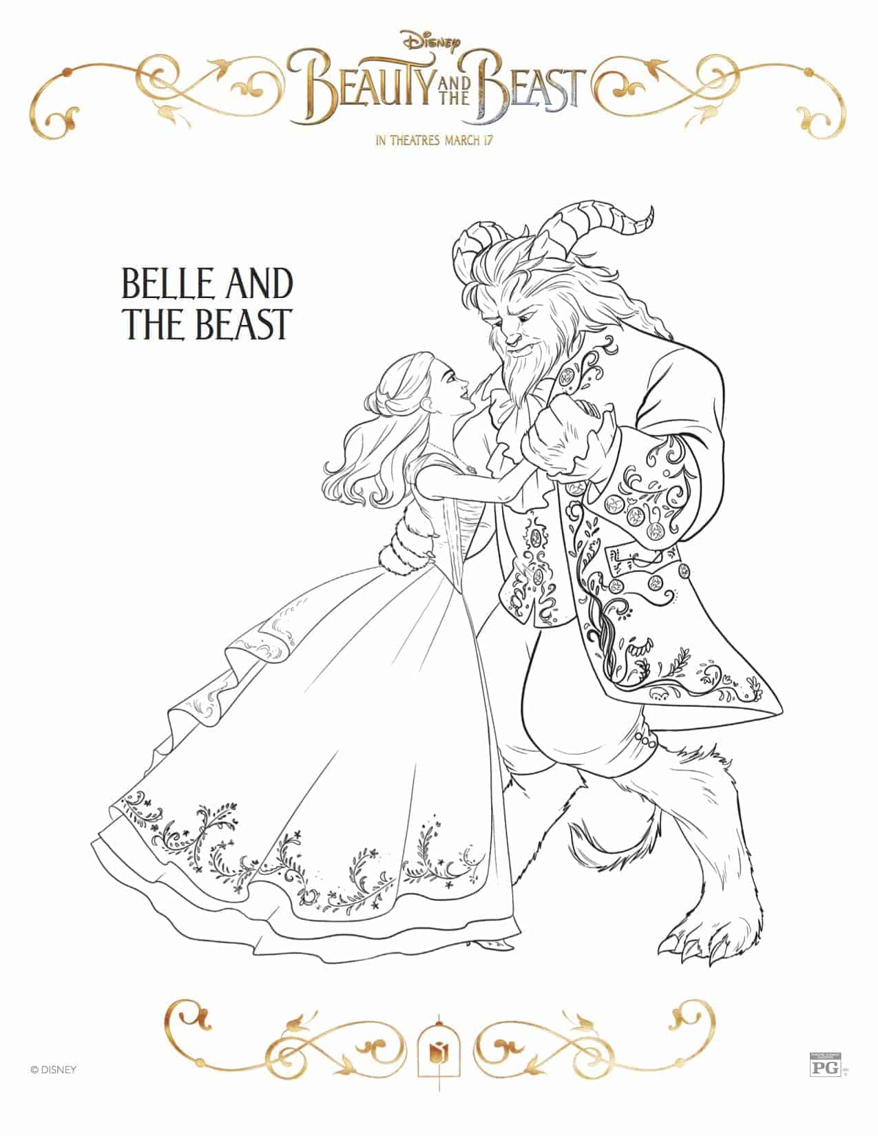 Free Printable Beauty And The Beast Coloring Pages Lola