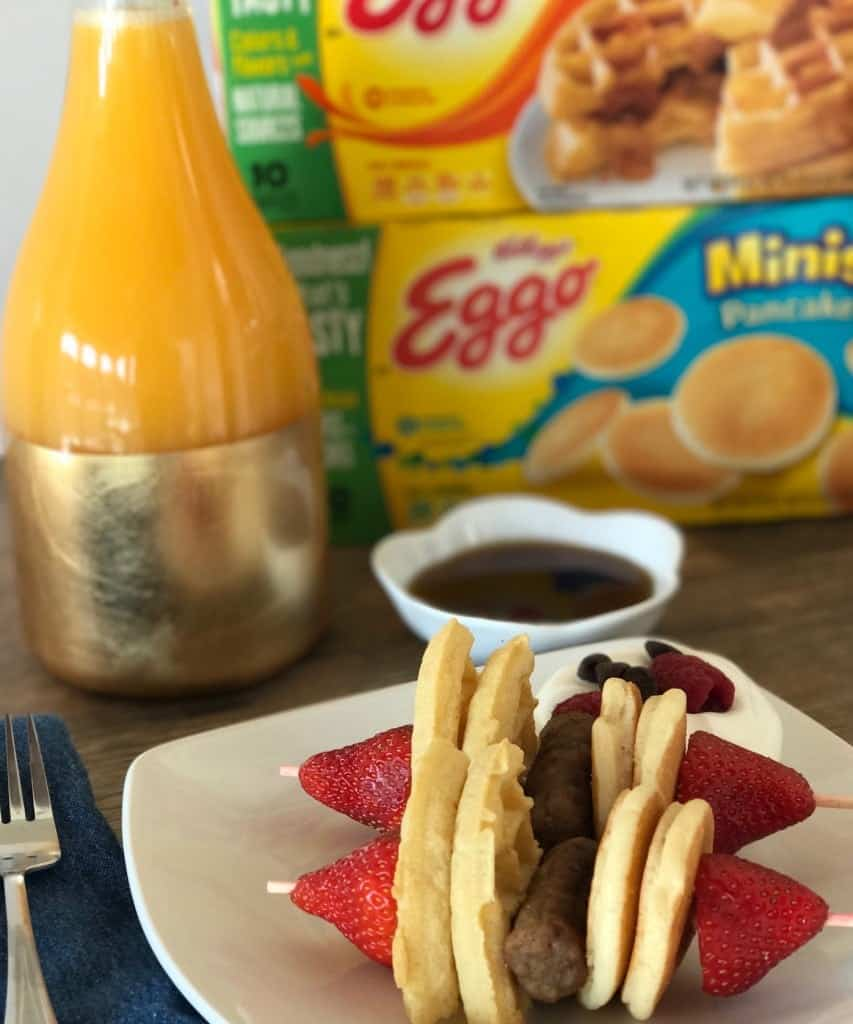 Easy Breakfast Kabobs with Eggo Waffles and Pancakes