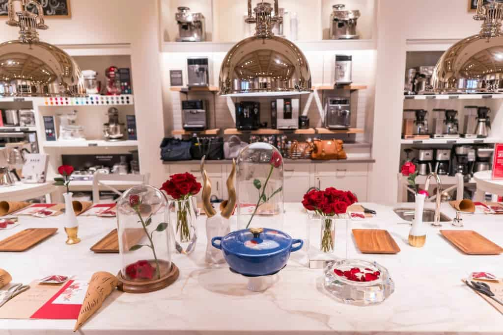 Making paper roses and ogling the Le Creuset Beauty and the Beast Soup Pot at Williams Sonoma