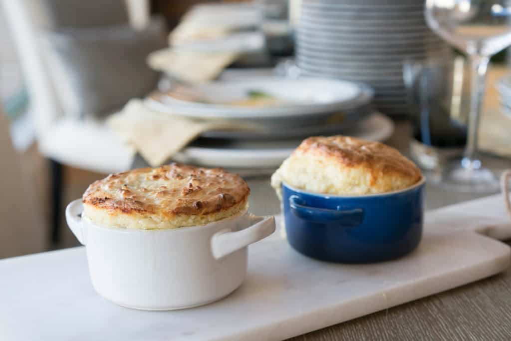 Soup de Jour, Cheese Soufflé made with the Le Creuset Beauty and the Beast Soup Pot