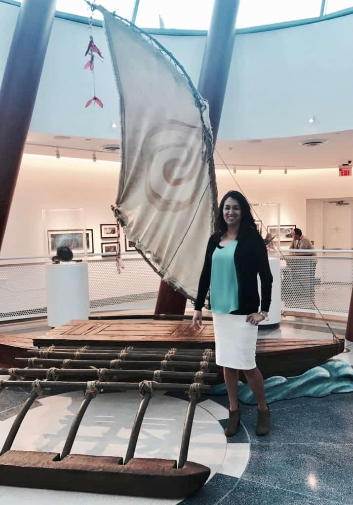 Moana boat replica in the Roy E. Disney Animation Building