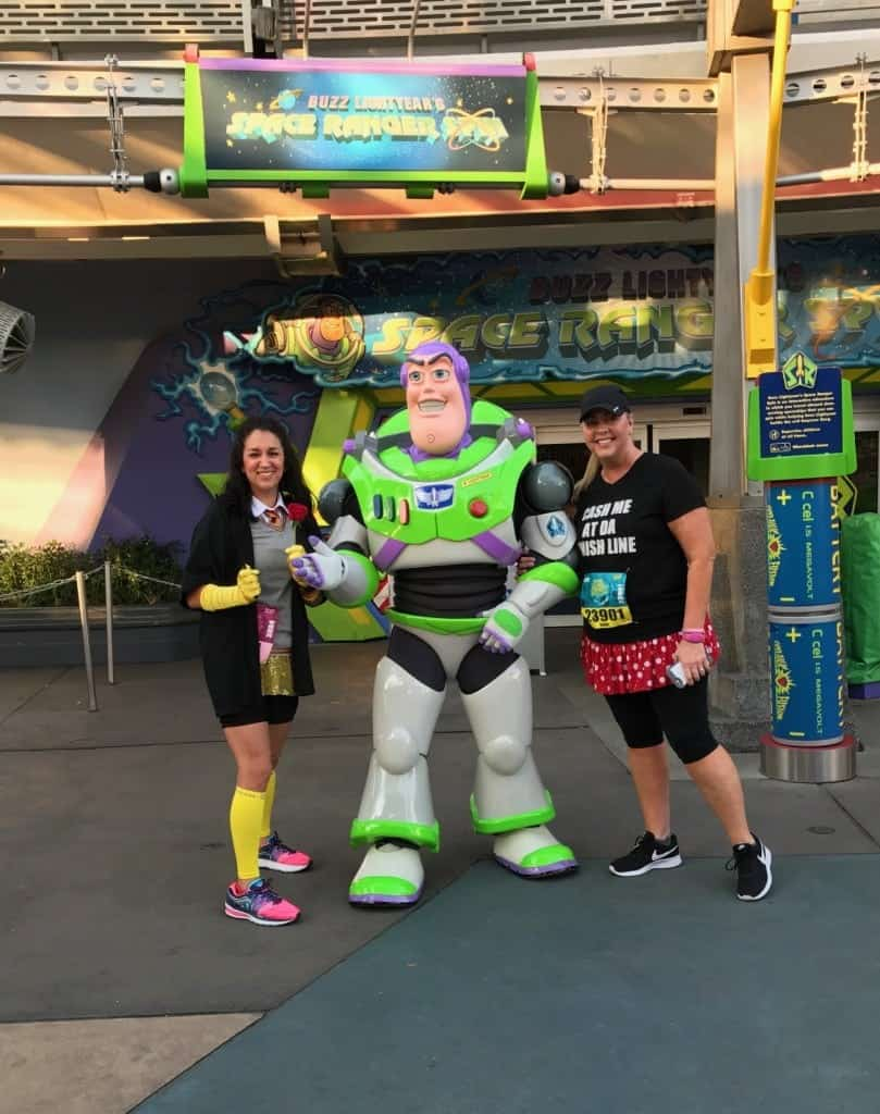 Buzz Lightyear is around Buzz Lightyear's Space Ranger Spin on the Princess Half Marathon Course!