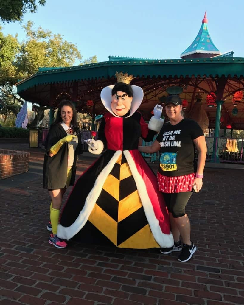 We found the Queen of Hearts by the Teacups at Princess Half Marathon Course