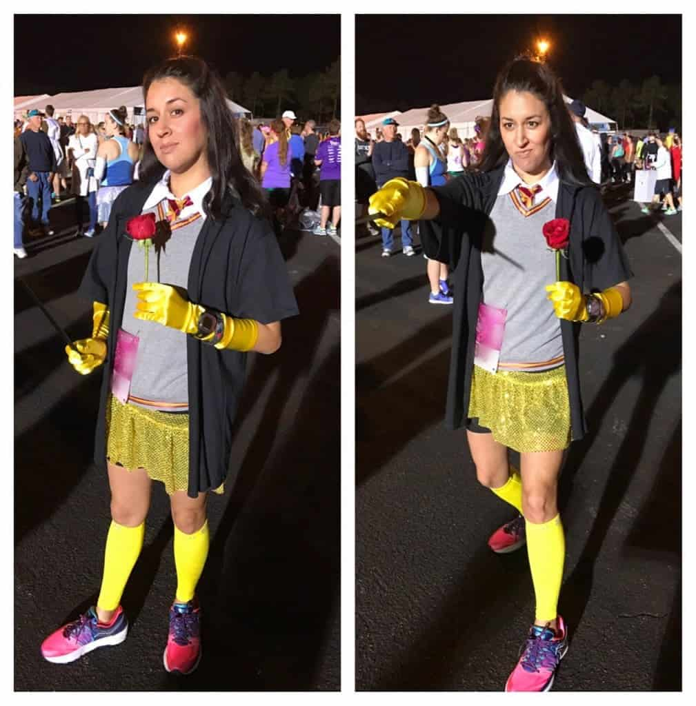 My Hermione Belle running costume for Princess Half Marathon as an ode to Emma Watson who plays both Hermione in Harry Potter and Belle in the new Beauty and the Beast!