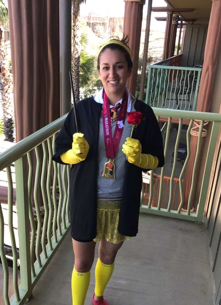 I finished the 2017 Princess Half Marathon with a Hermione Belle Running Costume and was rewarded with a beautiful Beauty and the Beast medal!