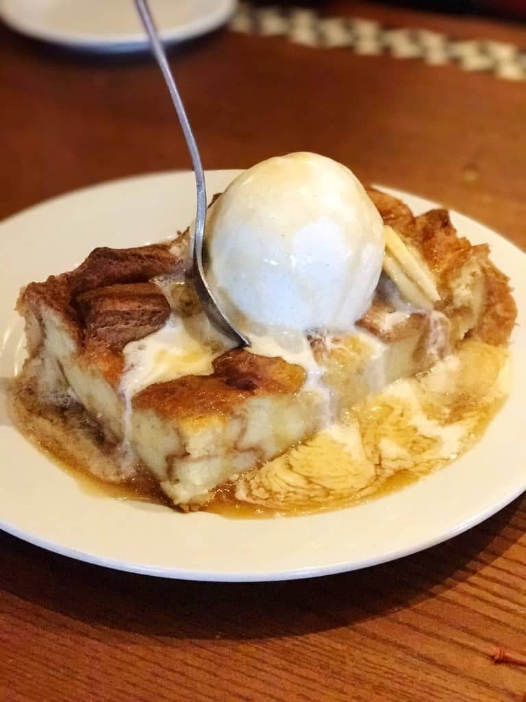 'Ohana bread pudding with caramel sauce is the BEST part of dinner at 'Ohana at Polynesian Village Resort