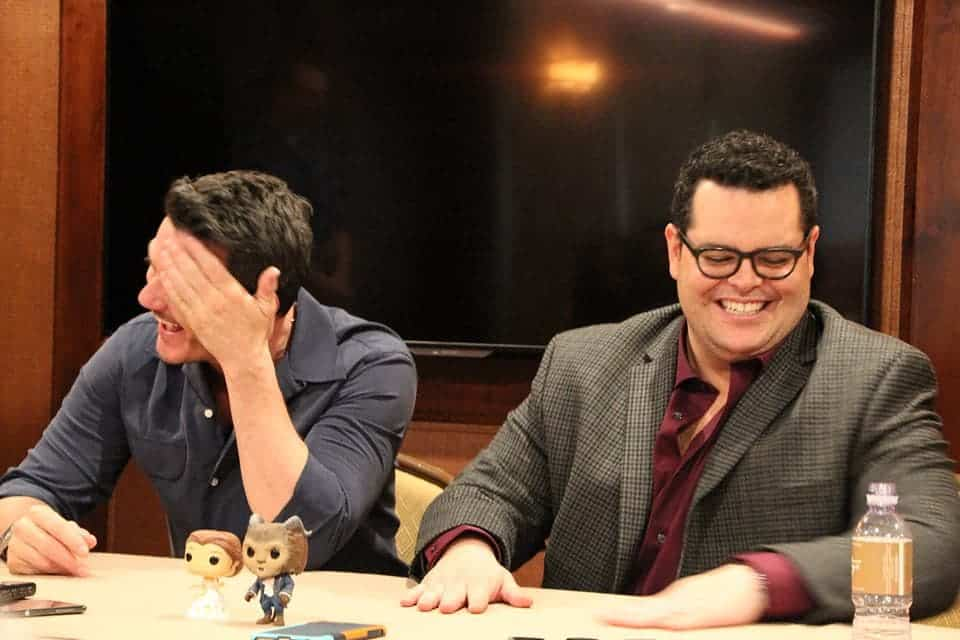 Luke Evans and Josh Gad crack themselves up during a Beauty and the Beast interview!