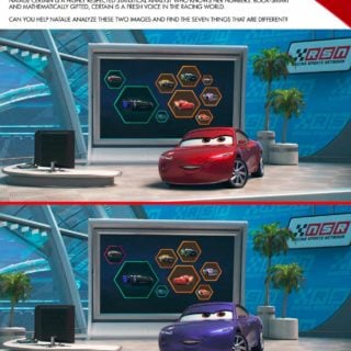 Spot the Difference in this free Cars 3 Game and have your kids find 7 differences.