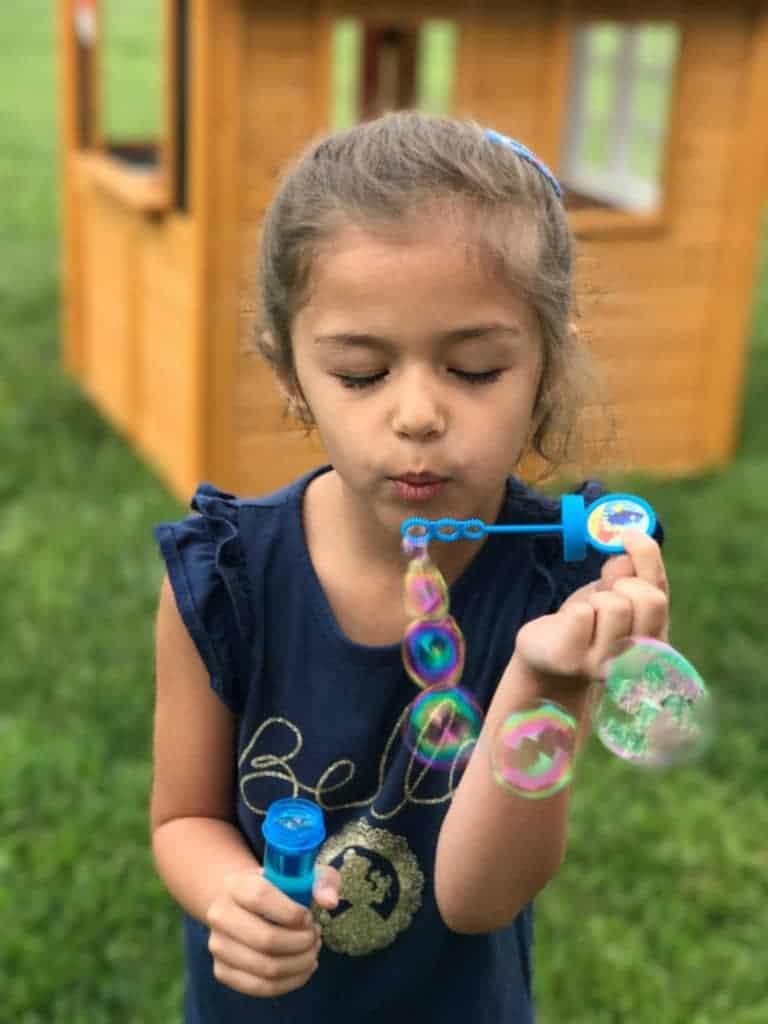Hooray for bubbles! A really great idea for a Disney Kids Preschool Playdate!
