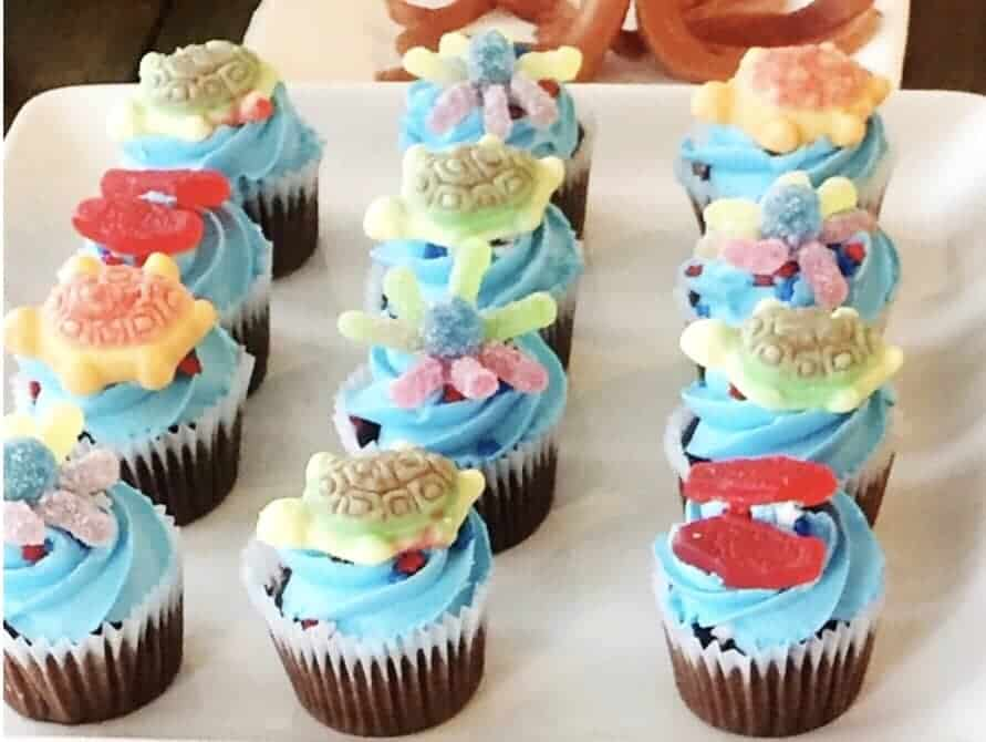 Yummy Finding Dory Party Food includes cupcakes! Something all kids love!