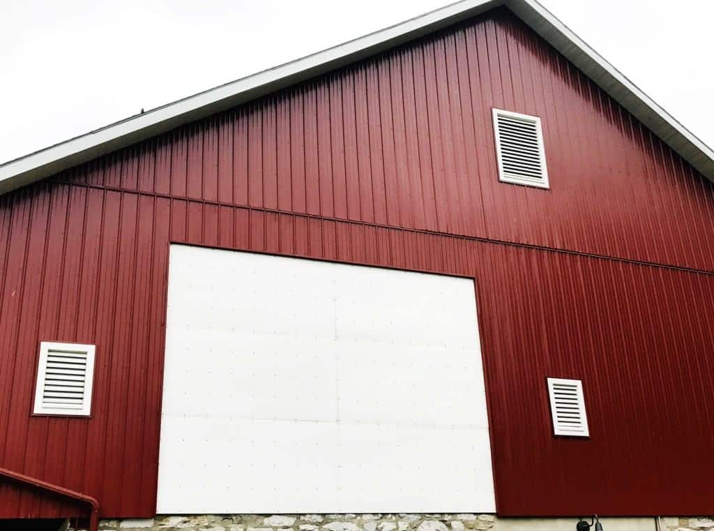 Watch an outdoor movie on the side of Landis Barn at Hershey Park Campground.