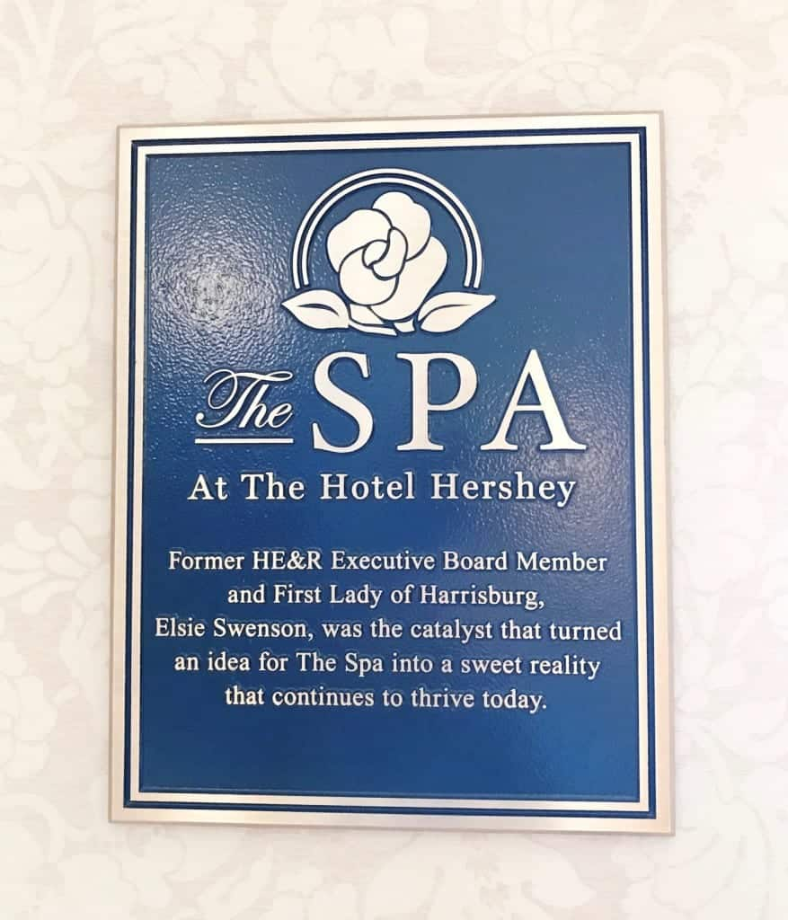 Follow this sign upstairs to get pampered at The Hotel Hershey.