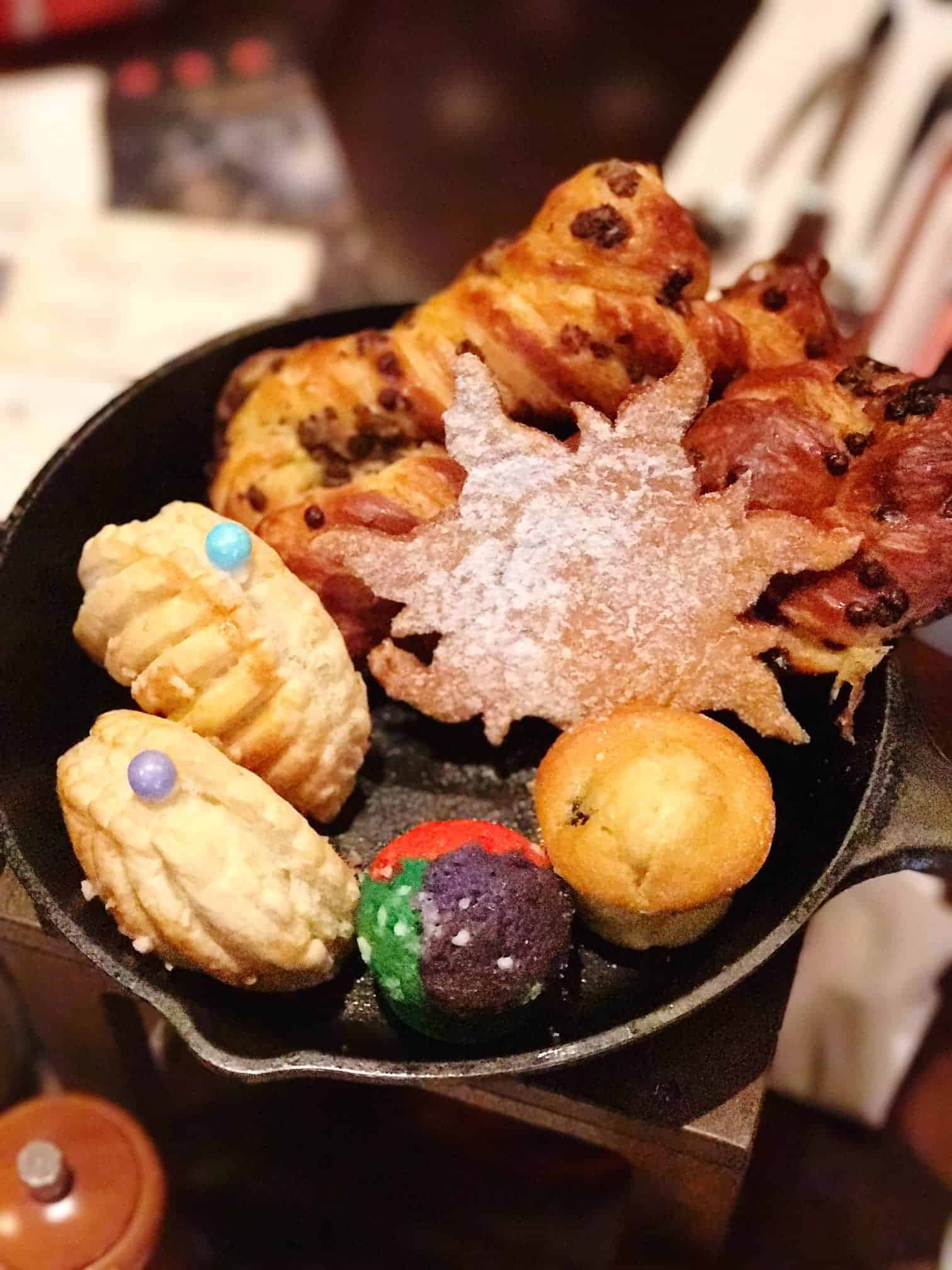 This adorable frying pan of pastries is delicious at the Bon Voyage Character Breakfast.