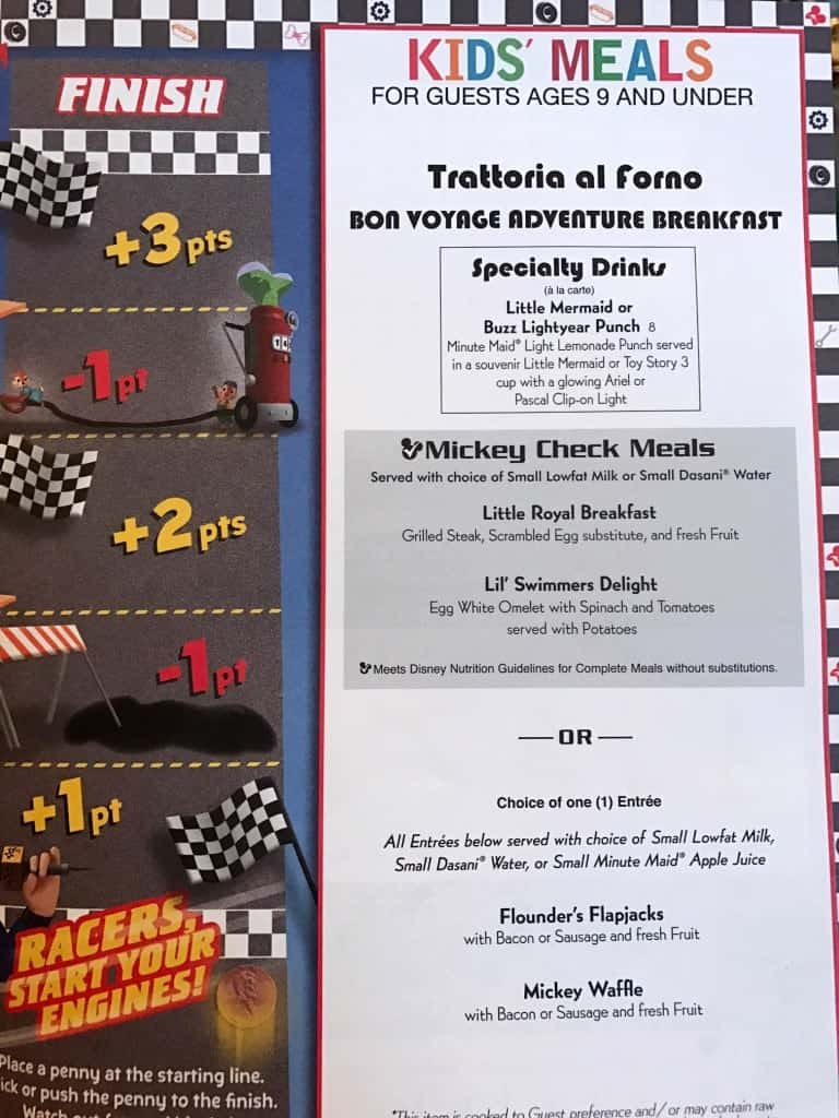 Check out the kids menu at the Bon Voyage Character Breakfast with Rapunzel and Flynn Rider at Trattoria al Forno!